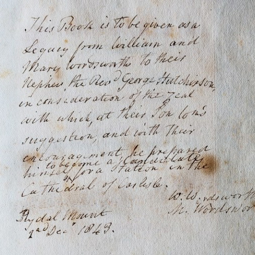 The inscription William and Mary Wordsworth wrote to their nephew, Rev. George Hutchinson.